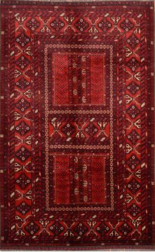 "Khan Mohammadi Red Hand Knotted 5'6"" X 8'10""  Area Rug 100-76514"