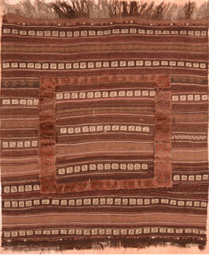 Afghan Kilim Brown Square 4 ft and Smaller Wool Carpet 76531