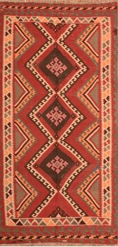 "Kilim Orange Runner Hand Knotted 4'9"" X 9'6""  Area Rug 100-76541"