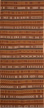 Afghan Kilim Brown Runner 10 to 12 ft Wool Carpet 76549
