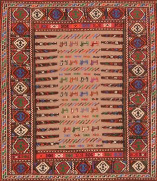 "Kilim Red Square Hand Knotted 3'8"" X 4'6""  Area Rug 100-76560"