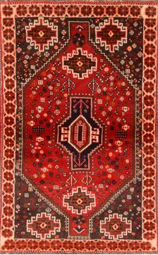 "Qashqai Red Hand Knotted 3'5"" X 5'5""  Area Rug 100-89771"