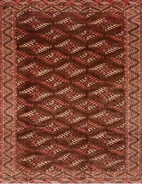 Persian Yamouth Brown Square 7 to 8 ft Wool Carpet 89786