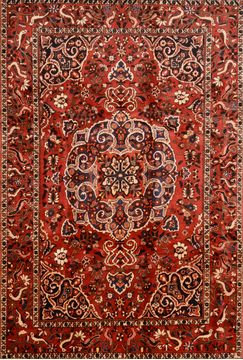 "Bakhtiar Red Hand Knotted 7'0"" X 10'5""  Area Rug 100-89787"