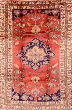 Persian Shiraz Red Rectangle 7x10 ft Wool Carpet 89788