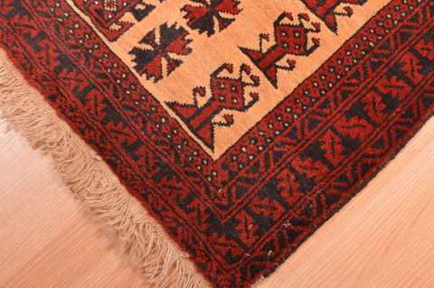 Afghan Baluch Red Rectangle 3x4 Ft Wool Carpet 89799 Sku