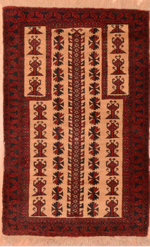 "Baluch Beige Hand Knotted 2'9"" X 4'6""  Area Rug 100-89799"