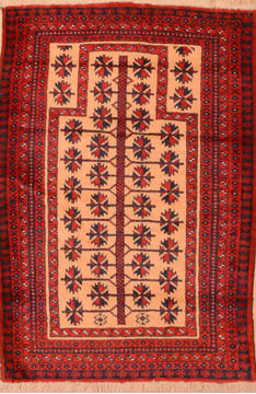 Afghan Baluch Beige Rectangle 3x5 ft Wool Carpet 89802