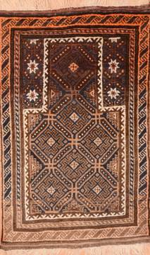 Afghan Baluch Brown Rectangle 3x4 ft Wool Carpet 89812