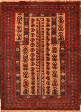 Afghan Baluch Beige Rectangle 3x5 ft Wool Carpet 89827