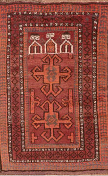"Baluch Red Hand Knotted 2'8"" X 4'0""  Area Rug 100-89830"