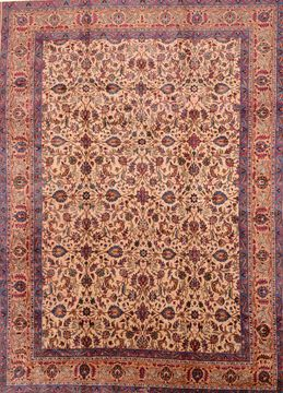 Persian Khorasan Beige Rectangle 10x13 ft Wool Carpet 89838