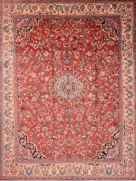 "Sarouk Red Hand Knotted 10'7"" X 13'10""  Area Rug 100-89842"