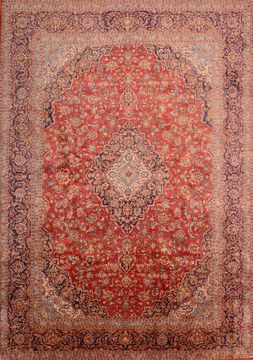 Persian Kashan Red Rectangle 10x14 ft Wool Carpet 89843