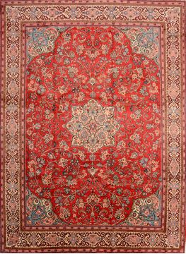"Moshk Abad Red Hand Knotted 10'0"" X 13'6""  Area Rug 100-89849"