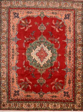 Persian Tabriz Red Rectangle 10x13 ft Wool Carpet 89850