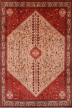 Persian Abadeh Red Rectangle 7x10 ft Wool Carpet 89873