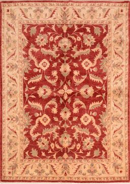 Chobi Red Hand Knotted 5 6 X 7 9 Area Rug 253