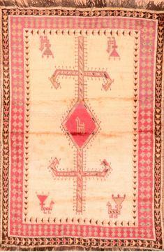 "Gabbeh Red Hand Knotted 3'10"" X 5'9""  Area Rug 100-89902"