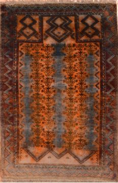 Afghan Baluch Orange Rectangle 3x5 ft Wool Carpet 89928