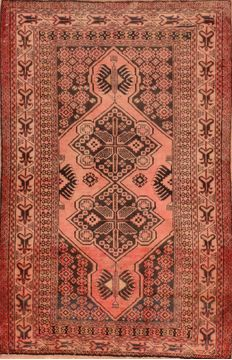 "Baluch Red Hand Knotted 3'3"" X 5'2""  Area Rug 100-89941"