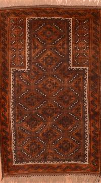 "Baluch Brown Hand Knotted 2'10"" X 4'9""  Area Rug 100-89949"