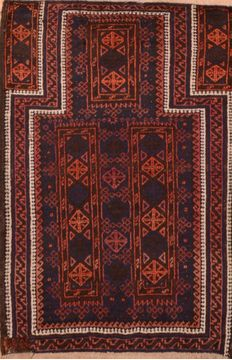 "Baluch Blue Hand Knotted 2'10"" X 4'4""  Area Rug 100-89950"