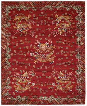 "Barclay Butera BBL16 DYNASTY Red 9'9"" X 13'0"" Area Rug 99446275257 805-96508"