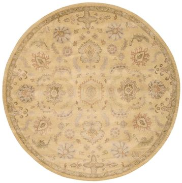 Nourison JAIPUR Yellow Round 7 to 8 ft Wool Carpet 99451